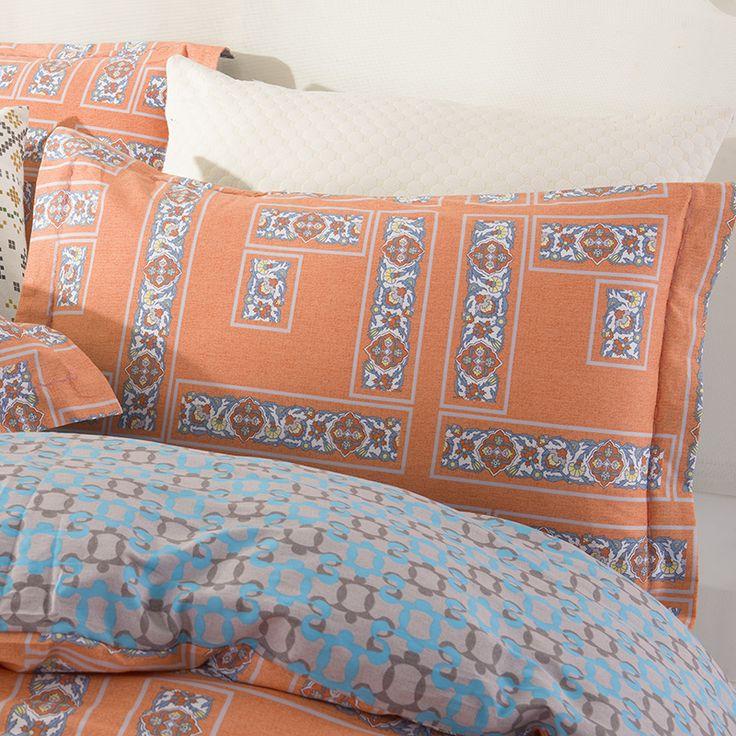 Arabesque Oranje Geometrische Beddengoed Sets Queen Kingsize Katoen Print Stof Geometrie Blue Grey Lakens Dekbedovertrek Set 2016