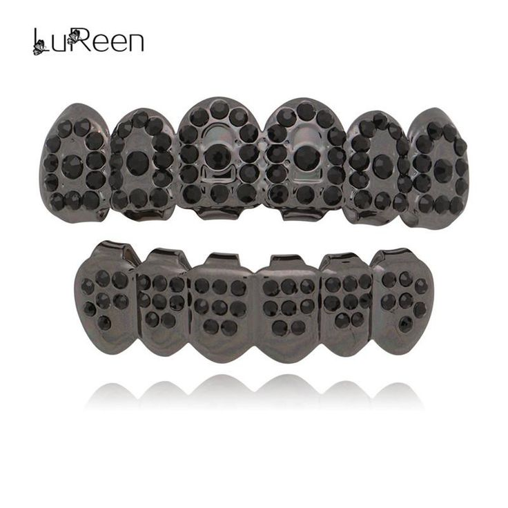 LuReen New Bling Black Teeth Grills Top&Bottom Iced Out Grills Dental Hiphop Vampire Tooth Caps Women Men Jewelry Party LD0149