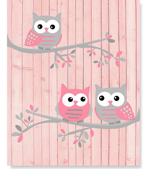 Gray and Pink Owls Girl's Room Owl Print by SweetPeaNurseryArt