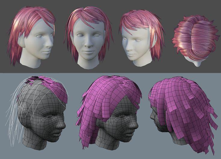 MAYA game character hair - Google Search