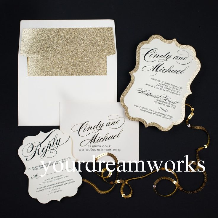Luxe rose gold glitter bruiloft uitnodigingskaart ontwerp(China (Mainland))