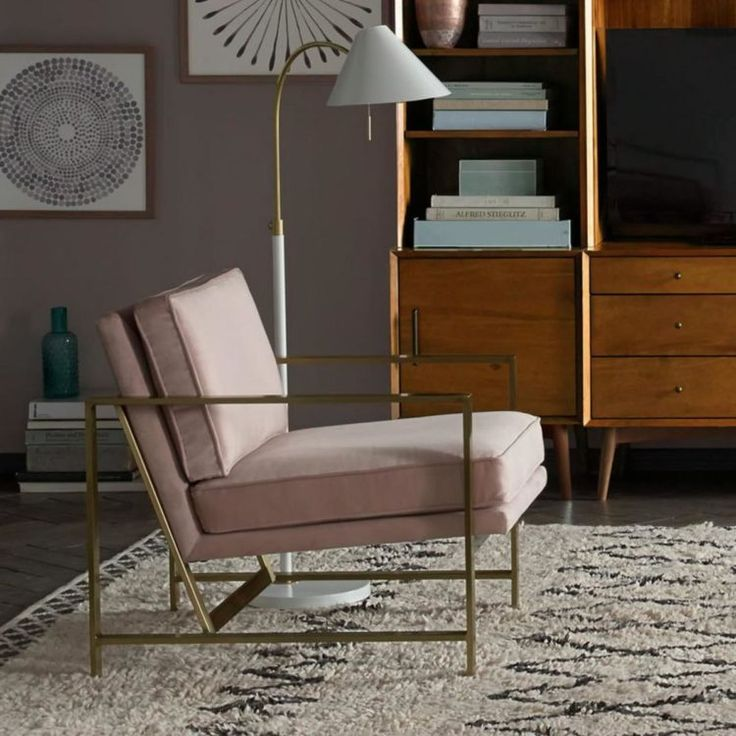 Brass and pink velvet armchair from Westelm   10 Best Armchairs - Mad About The House