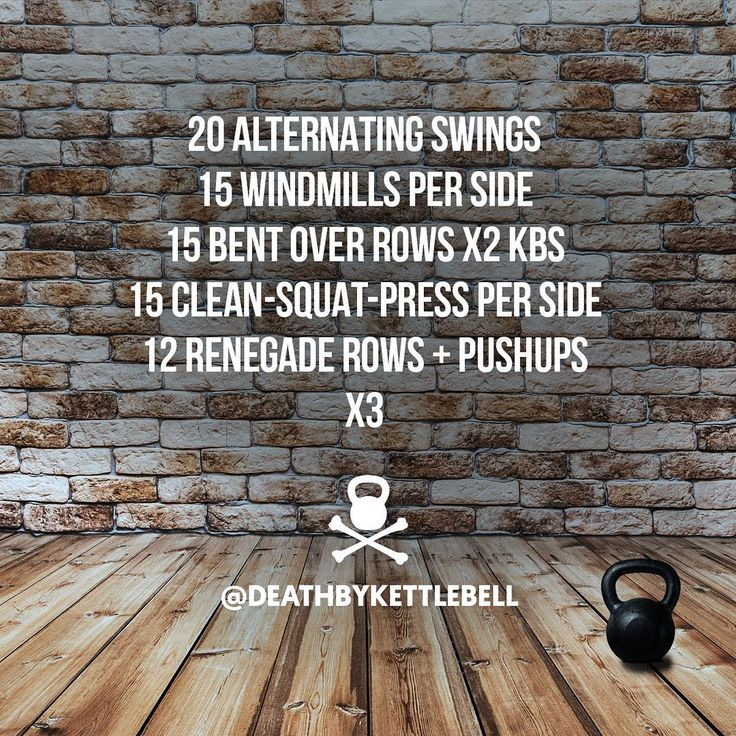 ⚫ Here's a fun kettlebell workout to get you sweating. For a greater challenge, perform 10-15 two-handed swings between each move:  20 Alternating swings 15 Windmills per side 15 Bent over rows x2 KBs 15 Clean-squat-press per side 12 Renegade rows + pushups x3 ⚫ DOUBLE TAP IF YOU'RE TRAINING WITH KETTLEBELLS  Let us know in the comments if you did the workout.  Tag a friend to challenge them with this set!  Always use kettlebells sized appropriate to your strength and fitness level. Be ...