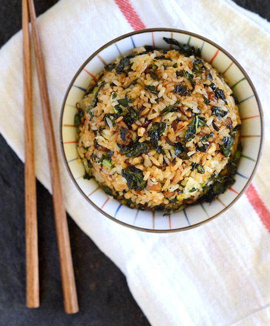 crispy kale and mushroom fried rice - w/ tamari instead of soy sauce, sesame oil instead of peanut oil