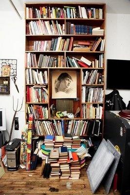 with picture: Bookca Porn, Artists Superstit Mechanical, Brooklyn Bookshelves, L'Wren Scott, Tattoo Artists, Week Bookshelf, Scott Campbell, Bookshelf Porn, Books Cases