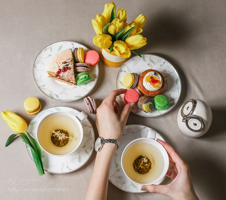 Green tea macaroon different cakes. Fresh breakfast table. Top view. Concept of business or... by malkovstock
