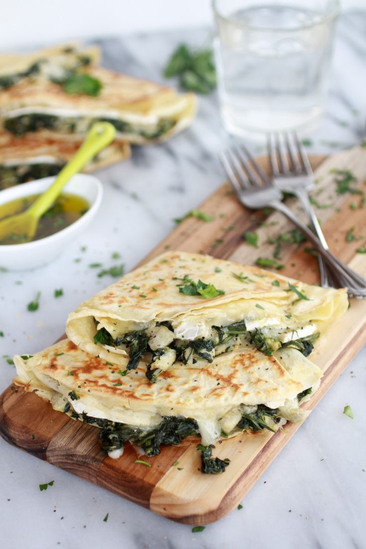 Breakfast for dinner! Spinach Artichoke and Brie Crepes with Sweet Honey Sauce