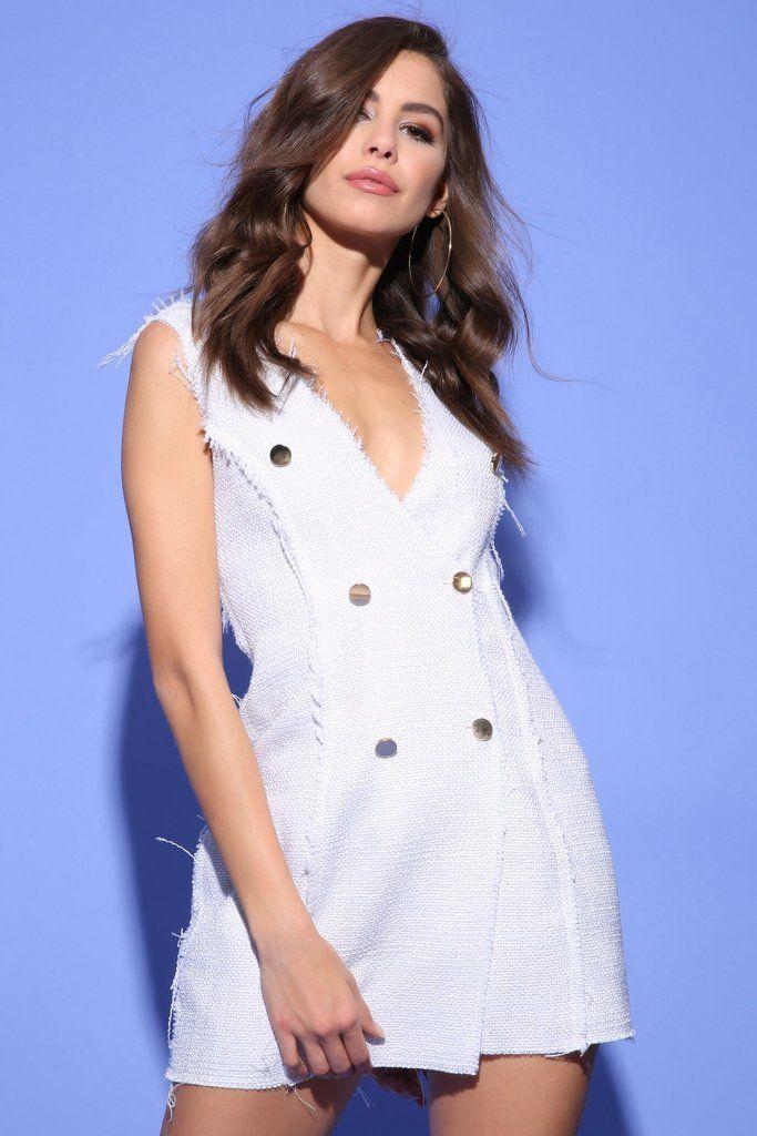 e4443f2133 Cream Woven Blazer Dress