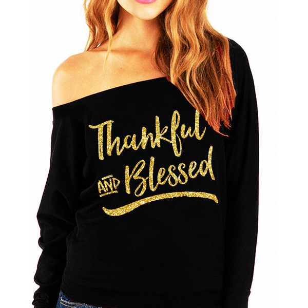 Thankful & Blessed Gold Slouchy Off-Shoulder Sweatshirt Thanksgiving... ($25) ❤ liked on Polyvore featuring tops, hoodies, sweatshirts, dark olive, women's clothing, lightweight sweatshirts, party shirts, print shirts, long sleeve shirts and off the shoulder sweatshirt
