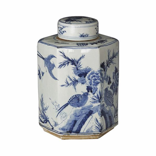 blue and white chinoiserie hexagonal tea jar or caddy, decorated with birds, bridge, peonies, flowers, ceramic