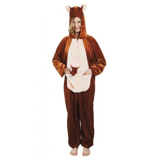 Kangoeroe onesie dierenpak 180 cm  Dit kangoeroe dierenkostuum is gemaakt van 100% polyester. De pluche onesie is van schouder tot enkel is deze 1.80 meter geschikt voor maat M tot XL. De capuchon met gezicht zit aan het pak vast.  EUR 39.95  Meer informatie