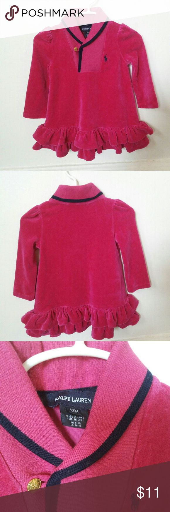 Baby polo velour dress Ralph Lauren polo baby girl pink velour dress Size:12 months 80% cotton 20% polyester Condition:used light wear comes from a smoke free home Ralph Lauren Dresses