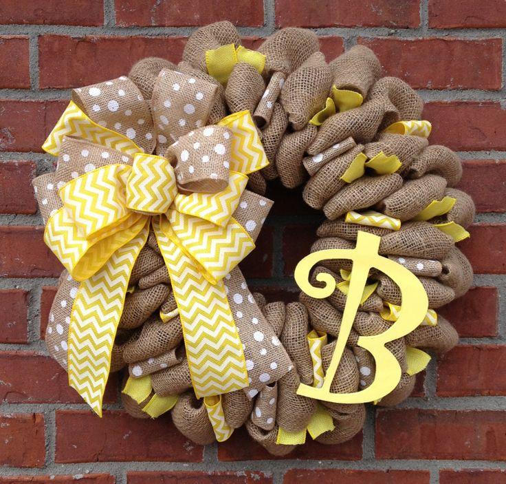 22+Monogrammed+Burlap+Wreath+by+marinascustomdesigns+on+Etsy,+$59.00