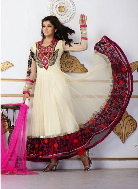Butta Cream Net Embroidered #Salwar_Kameez