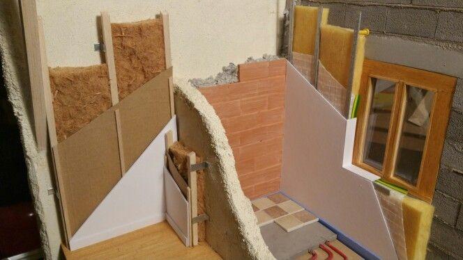 Maquette sur la rénovation thermique. Laine de bois ouate de cellulose