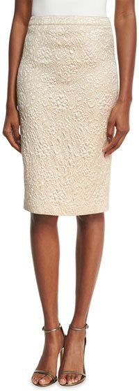 Andrew Gn Floral Jacquard Pencil Skirt, Gold