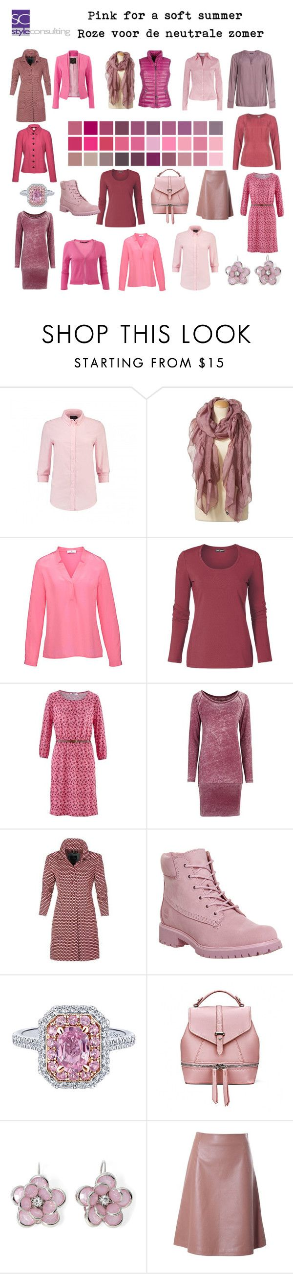 """""""Pink for a soft summer. Roze voor de neutrale zomer."""" by roorda on Polyvore featuring mode, Hahn, Basler, Timberland, Mixit en L'Autre Chose"""