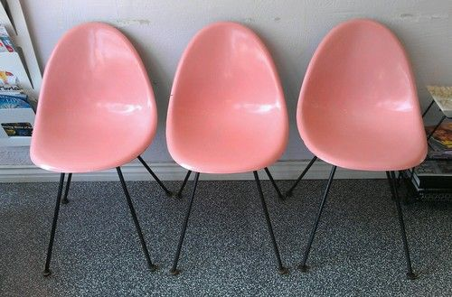 Mid Century Modern 1950s 60s Pink Tub Chairs Eames Style