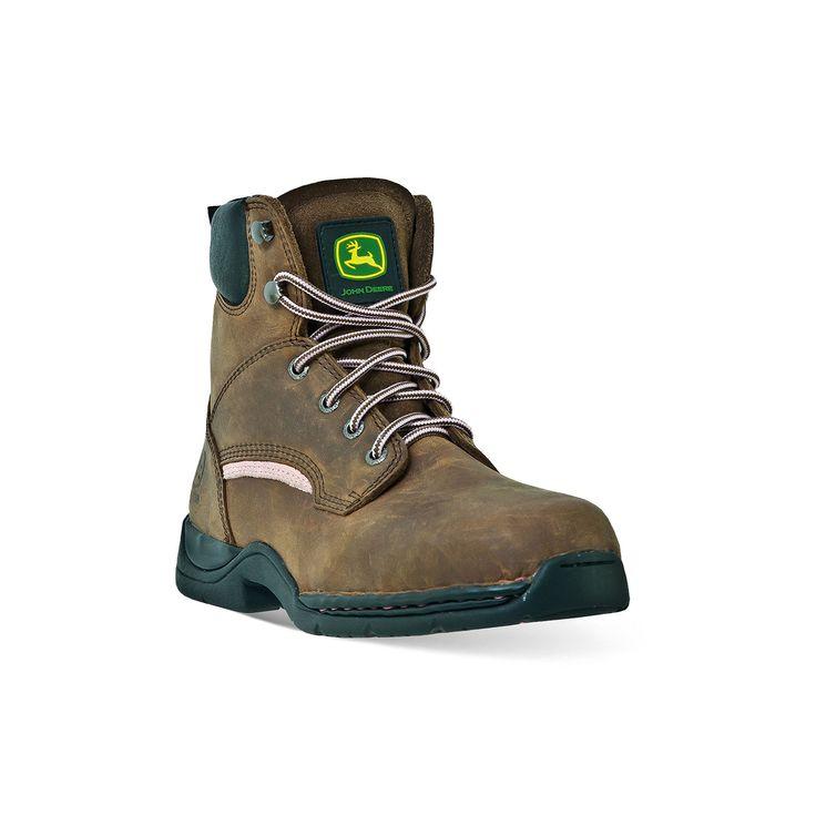 John Deere Women's Steel-Toe Hiking Boots, Size: medium (9.5), Brown