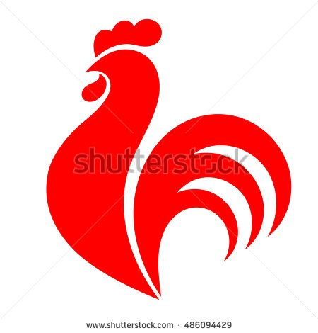 Rooster. Cock. Abstract rooster logo, cock icon. Red rooster as symbol of new year 2017 in Chinese calendar. Monochrome vector illustration of rooster, design element for new year 2017 greeting cards
