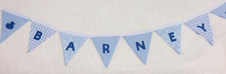 Handmade personalised baby boy blue vintage bunting