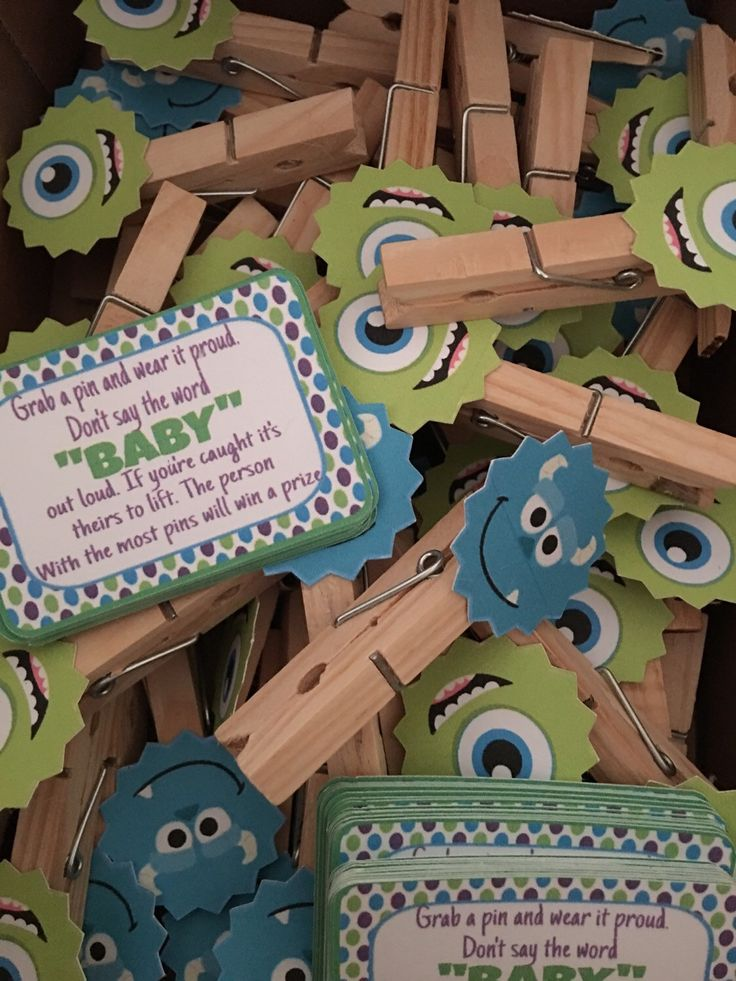 Monsters inc. baby shower game (don't say baby) 12pc by Decorationsbybelle on Etsy https://www.etsy.com/listing/281117070/monsters-inc-baby-shower-game-dont-say