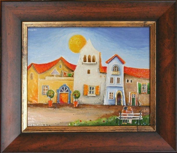 ŁAWECZKA obraz ceramiczny, majolika Danuta Rożnowska-Borys