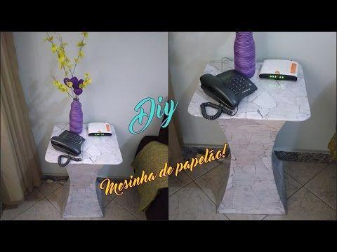Faça você mesmo   Mesinha para telefone feita com papelão! - YouTube