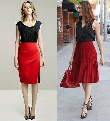 Черная юбка и черная блузка