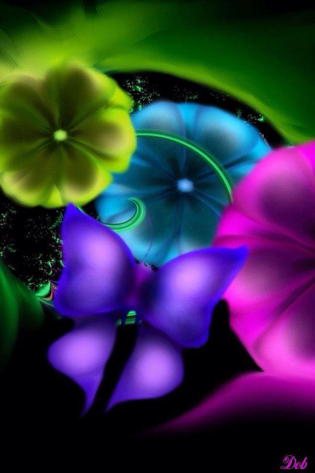NEON BUTTERFLY & F... Neon Butterfly Wallpaper