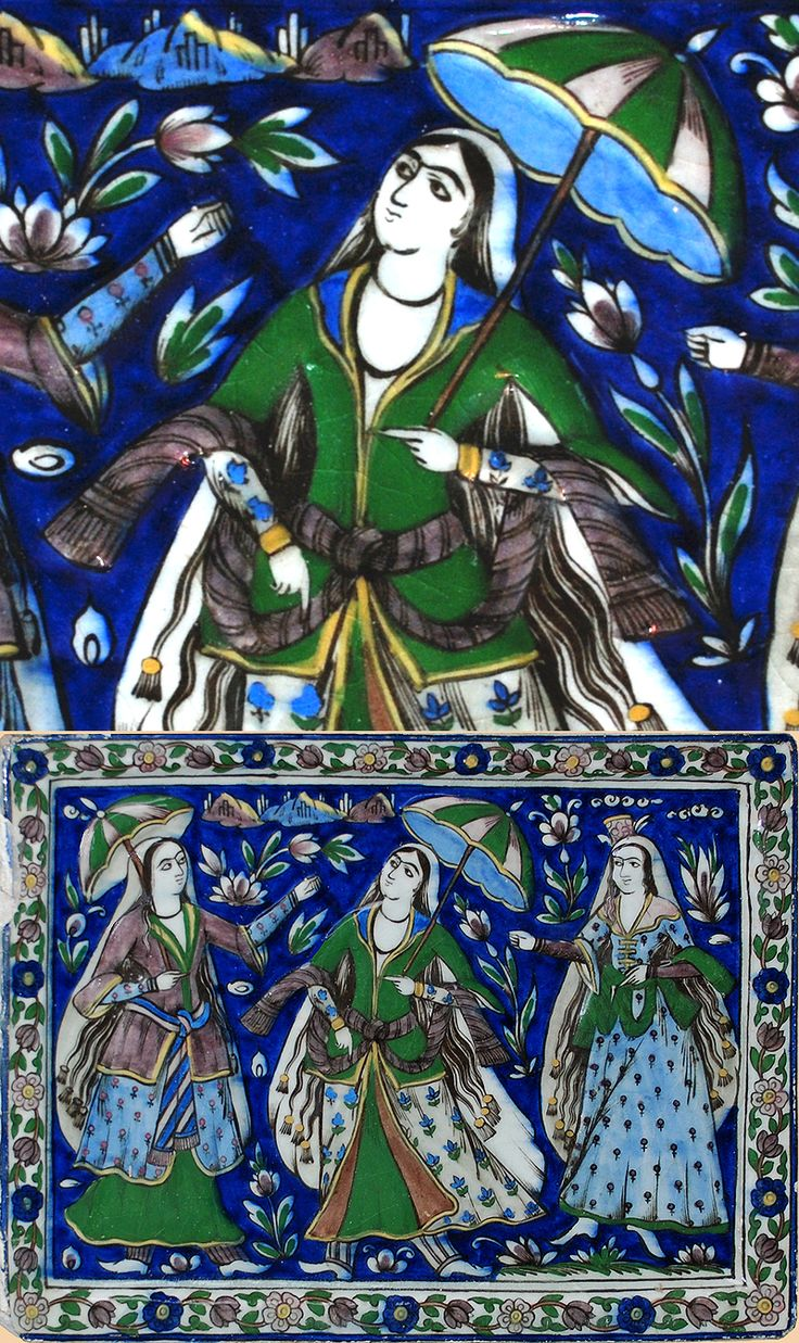 Details about hassam garden painting ceramic bathroom tile murals 2 - Antique Persian Qajar Tile Http Www Textileasart Com Inventory