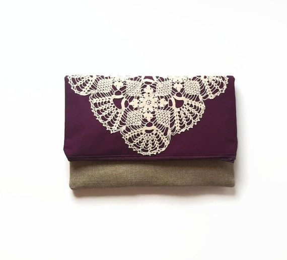 Eggplant Purple Fold Over Clutch - Linen and Lace Foldover Bag - Vintage Lace Doily Purse on Etsy, $36.00