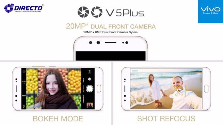 """Capture every magical moment with vivid clarity & stunning detail! 20MP + 8MP Dual Front Camera (Bokeh Mode)!   VIVO V5 PLUS - RM1798 or RM149 X 12 months!  Key features:  4GB RAM, 64GB ROM, 5.5"""" Full HD Display, 16MP rear camera, dual front camera 20MP + 8MP, Android 6.0 marshmallow, dual sim, 3160 mAh battery, fast charging, fingerprint sensor 0.2 seconds & the list goes on!  DirectD Gadget Mega Store. Lot 11, Jln 51A/219, PJ (next to Mazda service Centre, same row with AVON along side…"""