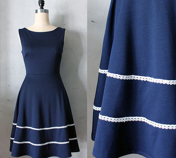 This one would really look nice...Largest size is a Large :(  COQUETTE in NAVY  Navy blue dress with pockets by FleetCollection, $68.00