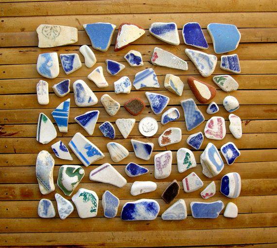 Large Mix Sea Pottery Shards - Mosaic Beach Pottery - Jewelry Supplies (156) via Etsy
