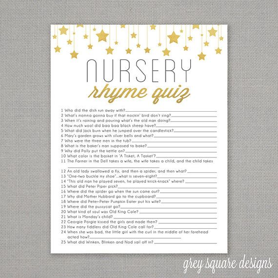 Nursery Rhyme Quiz  Baby Shower Game  Gold Stars