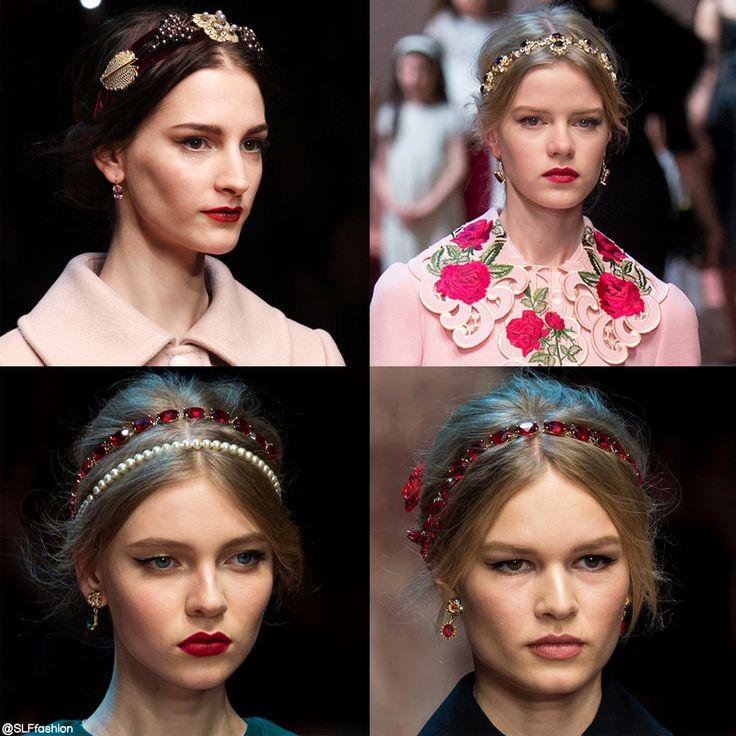 Trendy hairstyle for FW 2015: Headband. Glamours vintage Victorian rhinestone and pearl headband. Dolce and Gabbana Fall Winter 2015.