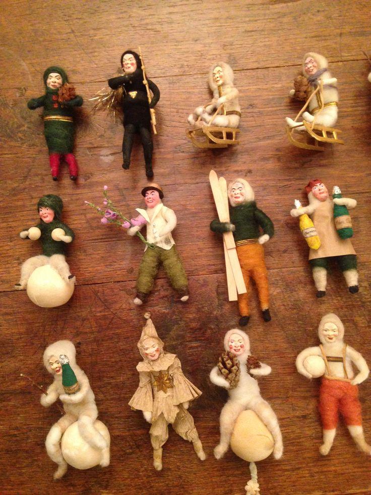 Antique Spun Cotton Christmas Ornaments