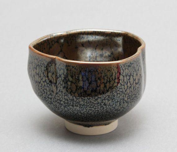 Wheel-thrown Porcelain Triangular Tea Bowl / Chawan with Oil Spot / Tenmoku Glaze by Hsinchuen Lin Lin