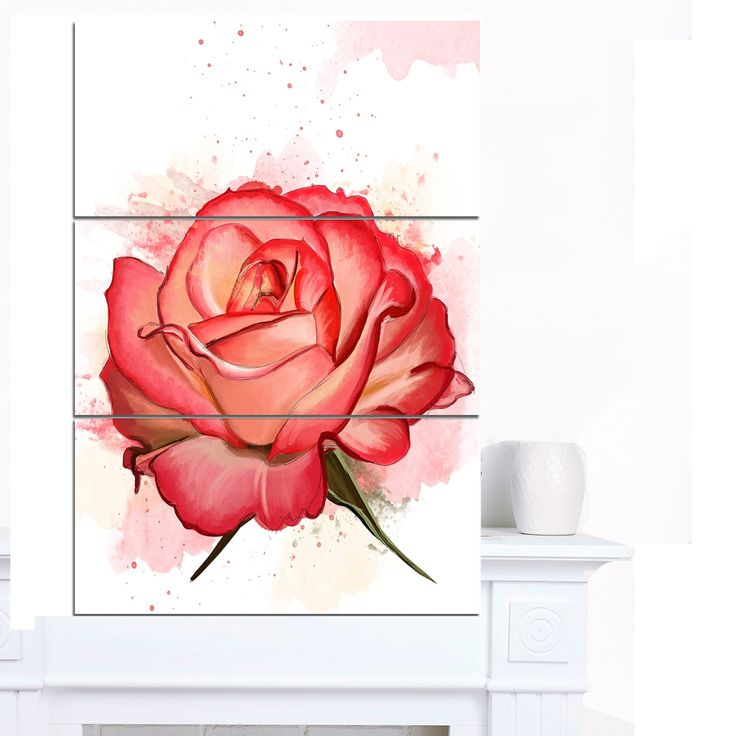 Designart ' Rose Illustration with Splashes' Extra Floral Canvas Art