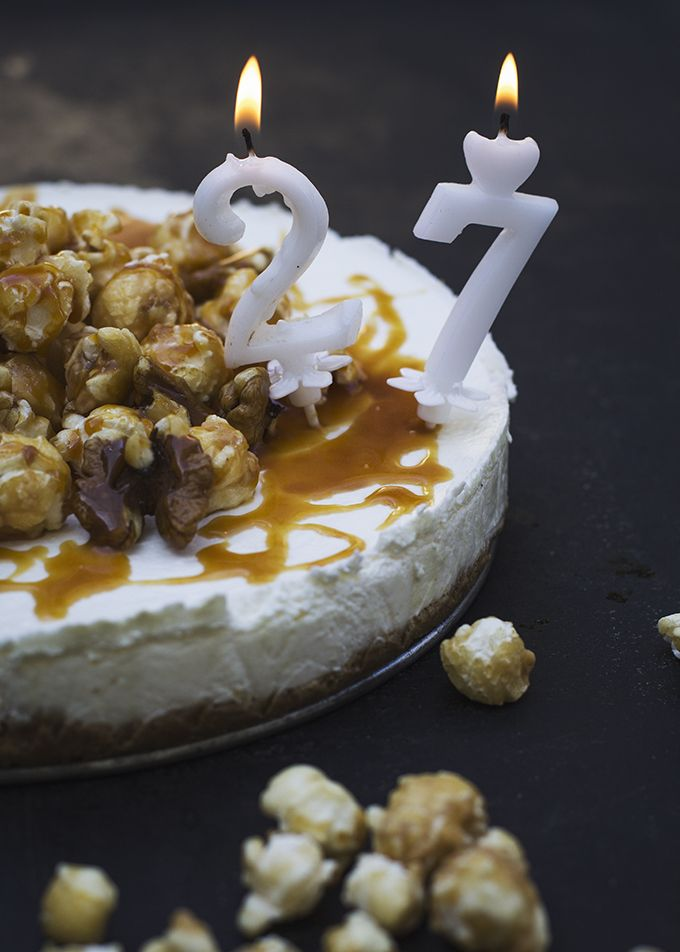 Salted caramel cheesecake with caramelized popcorn and walnut on top