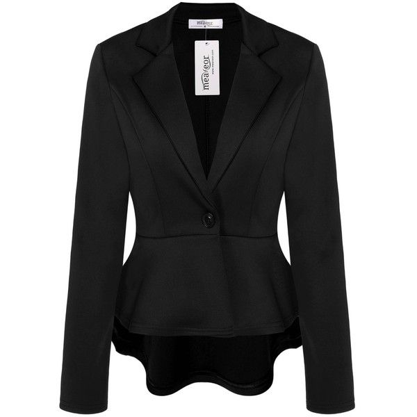 Meaneor Women's Crop Frill Shift Slim Fit Plus Size Peplum Blazer... (135 VEF) ❤ liked on Polyvore featuring outerwear, slim blazer, plus size blazer jackets, ruffled blazer, blazer jacket and slim fit blazer