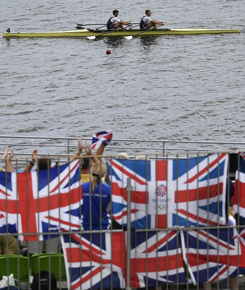 Britain's John Collins and Britain's Jonathan Walton row during the Men's Double Sculls rowing competition at the Lagoa stadium during…