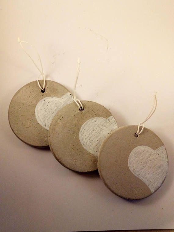 Set of three handmade concrete Christmas balls