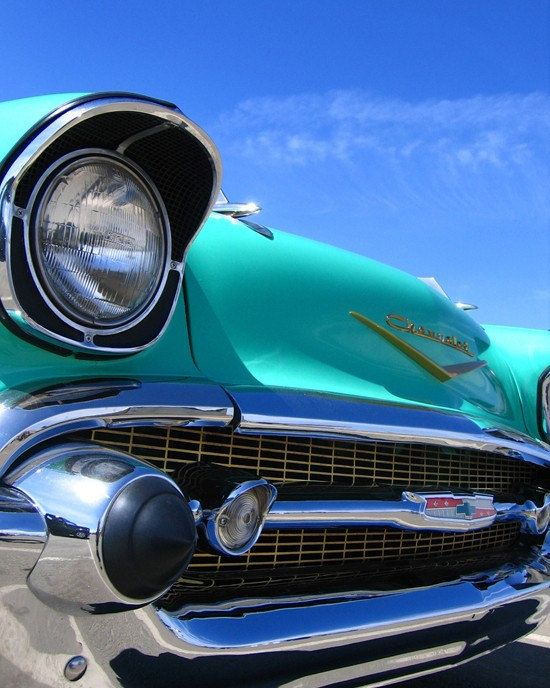 Blue Chevrolet Bel Air Front End Classic by RetroRoadsidePhoto