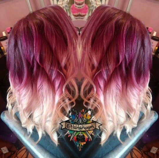 Burgundy blonde two tone ombre dyed hair