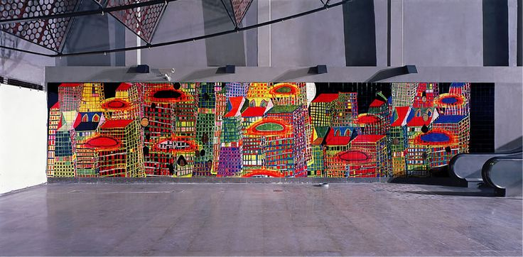 'SUBMERSION OF ATLANTIS Mural for Orient Station of the Metropolitan Subway Lisbon, 1996-1998· Hundertwasser