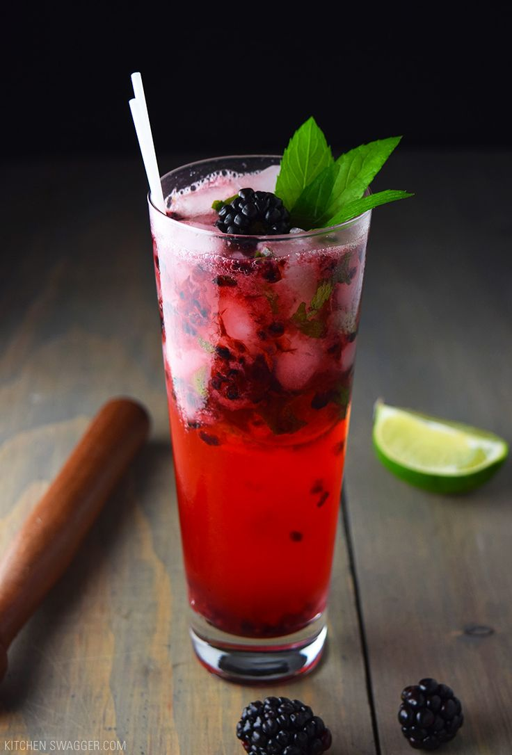 The blackberry mojito recipe is a classic mojito with the addition of fresh muddled blackberries.