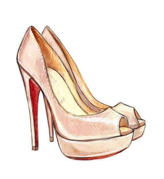"Pink Christain Louboutin ""Lady Peep"" Pumps Art Print, Christian Louboutin Shoes, Watercolor Fashion Illustration Print. $10.00"
