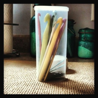 Crystal Light container = Perfect crochet hook holder!  It can hold A LOT of hooks :)